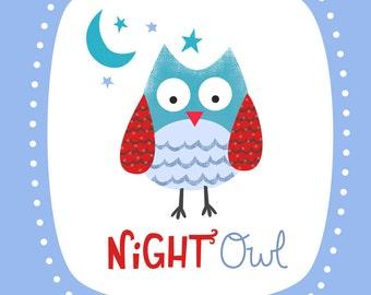 Night Owl Nursery Print- Blue
