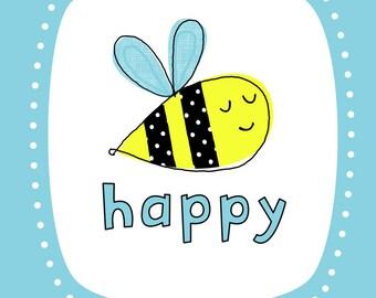 Bee Happy Wall Art Print- Blue