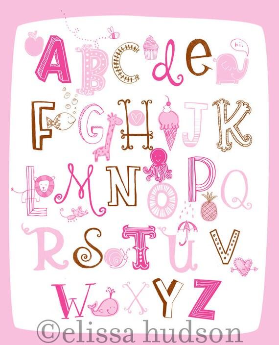 Illustrated Alphabet Wall Art Print- Pink Brown