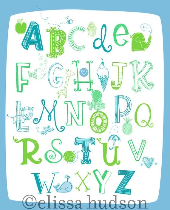 Illustrated Alphabet Wall Art Print- Blue