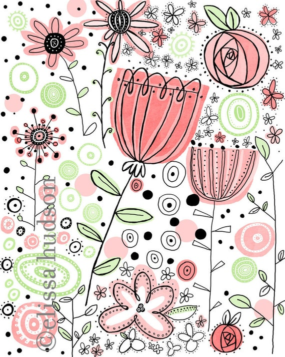 Pink Flowers Illustrated Wall Art Print