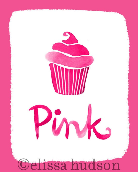 Wall art print color series pink cupcake for Cupcake wall art