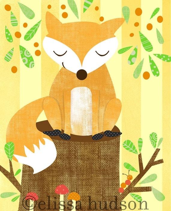 Wall Art Print Storybook Woodland Series Fox