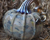 Hand blown glass pumpkin creamy multicolor with golden iridized stem