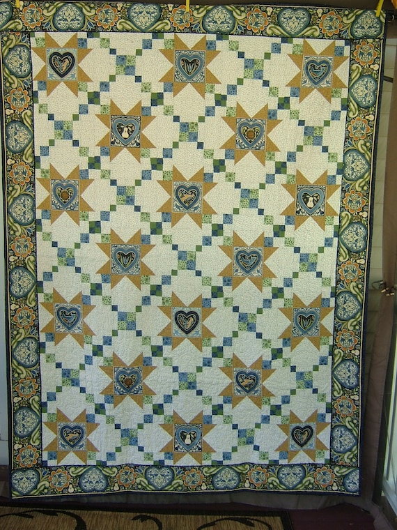 Twin/Full Size Quilt 60x80 featuring Marzipan by Julie Paschkis in blues,greens, white,and gold with matching toss pillow cover