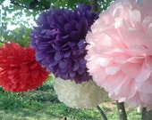 12 Tissue paper pom poms, Wedding decorations, Baby, Bridal shower, Rehearsal, Party decorations. Hanging pom poms. Hanging flower ball