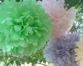 Tissue paper poms. Wedding decorations, Baby shower, Wedding anniversary, Bridal party, Party decorations. Set of 20