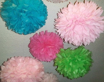 Tissue paper poms / Wedding decorations / Baby shower / Wedding anniversary / Bridal party / Party decorations. Set of 12