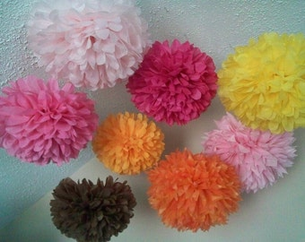 Tissue paper poms, Wedding decorations, Baby shower, Wedding anniversary, Bridal party, Party decorations. Set of 20