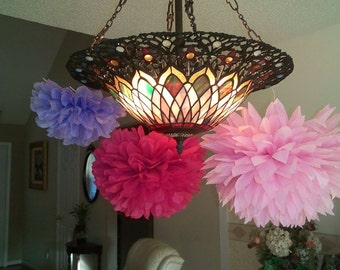 Set of 12 Poms. Party paper pom poms, pom poms, paper pom poms, tissue paper flowers, hanging flower balls. Pick your colors