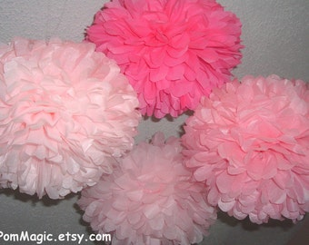 12 Tissue paper poms / Wedding decorations / Baby shower /  Wedding anniversary /  Bridal party / Party decorations / Hanging flowers
