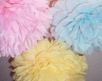 10 Tissue paper poms, Wedding decorations, Baby shower, Wedding anniversary, Bridal party, Party decorations.
