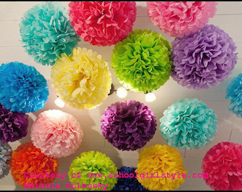 Tissue paper poms #Wedding decorations #Baby shower #Wedding anniversary #Bridal party #Party decorations  #Set of 10
