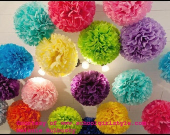 Tissue paper poms. Baby shower, Bridal shower, Birthday party Decorations. Set of 15 poms.