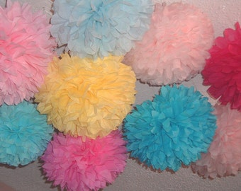 25 Tissue paper poms, Wedding decorations, Baby shower, Wedding anniversary, Bridal party, Party decorations.