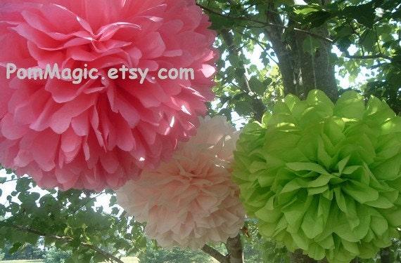Set of 12 decorative paper poms, wedding pom poms, paper poms, pom poms, baby shower, bridal shower
