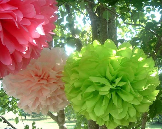 Tissue paper pom pom. Wedding decorations, baby shower, birthday party.