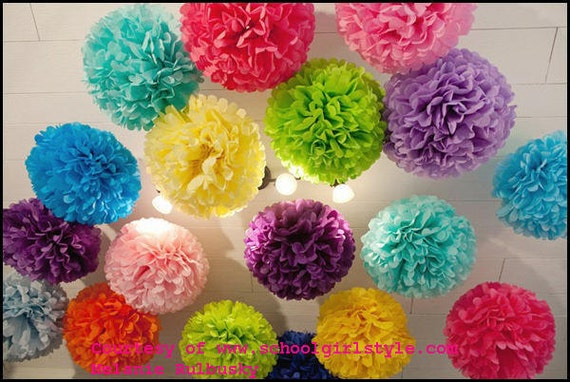 20 Tissue paper poms / party decorations / paper pom pom / wedding flowers / hanging puff / tea party