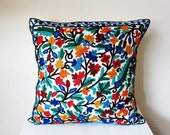 Embrodered ,Naturel %100 Cotton ORGANIC,Ecofriendly Pillow Cover 16'' x 16''