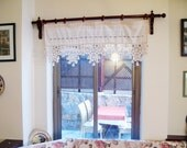 ECO Friendly Naturel Cotton Curtain with Handcrochet Lace and 1 line woodbeads and Tassel