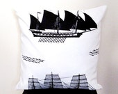 Sailing Ship  Naturel Handmade %100 Cotton ORGANIC,Ecofriendly Ivory Pillow Cover 16'' x 16'' Tagt Team