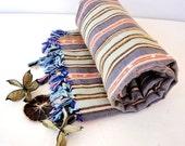 BATH Beach Towel,NATURAL Cotton ,Eco Friendly PESHTEMAL,High Quality Hand Woven Turkish Cotton Bath,Beach,Spa,Yoga,Pool Towel