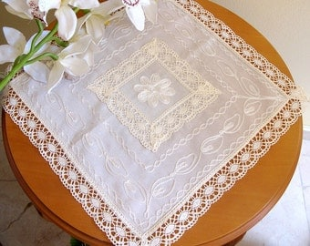 Table Cloth,Handmade ANATOLIA Natural,Organic Silky Pure Cotton and Lace Ivory Tea Table Cloth
