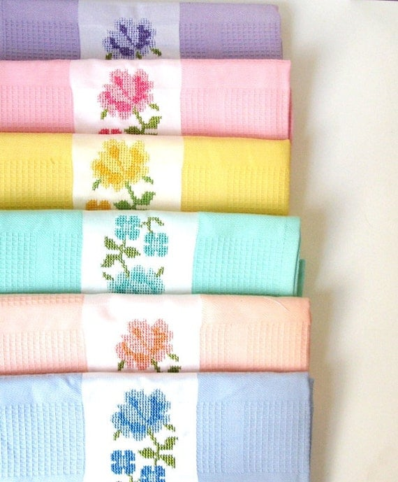 Washcloths For Sale: SALE.. 100 Percent Natural Cotton 6 Kitchen Towels By Loovee