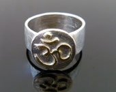 Silver Ohm Ring with 22k Gold accents, Yoga Jewelry, Zen Jewelry, Peace