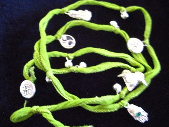 silk ribbon wrap bracelet, anklet or necklace with handmade charms from silver