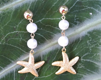 Gold Starfish and Freshwater Pearl Earrings