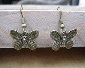 Small antique golden butterfly earrings