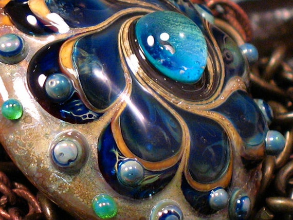 RESERVED Indigo Skies Kismet  - Handmade Lampwork Focal Bead By Sra Artist Payton Jett