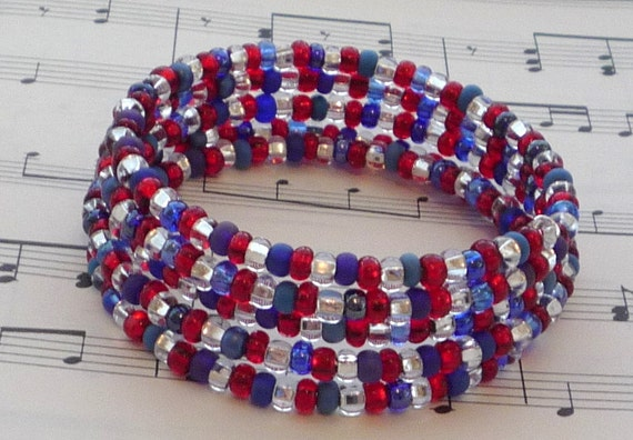 Red, White and Blue Memory Wire Bracelet