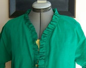 Ruffle Bolero Jacket Shrug Cardigan, Size Small Medium, Green Meadow--Ready to Ship, Ecofriendly and Handmade