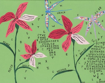 Pink Flowers Floating Letters Metallic Dragonflies Giclee Print on Canvas 16 x 12
