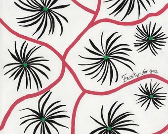 Black Flowers with Pink Ribbon on White Background Giclee Print on Canvas 20 x 16