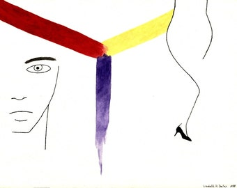 Male Face & Female Body with Red, Yellow and Purple Lines Giclee Canvas Print 20 x 15
