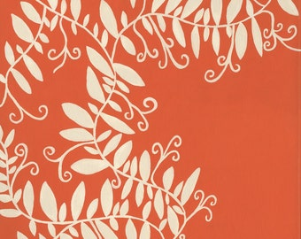Vanilla White Vines with Leaves on Orange Background Nature Giclee Print On Canvas 14 x 11