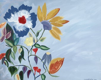 Flowers and Multicolored Leaves with Light Blue Background Giclee Print on Canvas 14 x 11