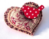 Felt brooch jewelry red polka dot bird jewellery shabby chic uk seller