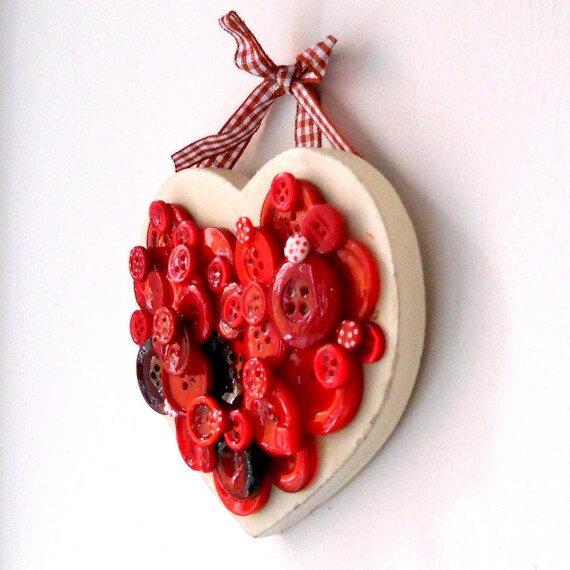 Hanging wood button heart decoration for home Valentines Day decor RED GINGHAM