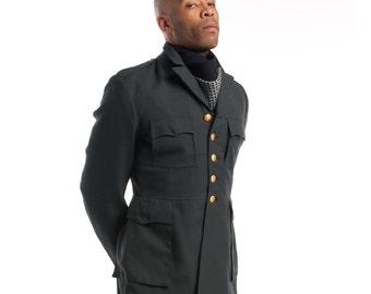 1960's Swedish New Military Style Vintage Blazer / Dress Jacket (Medium-2XL)