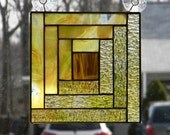 Stained Glass Panel Log Cabin Quilt Block