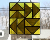 Stained Glass Suncatcher Dutchman's Puzzle Quilt Block