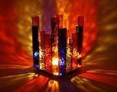 Stained Glass Candle Holder Multicolor
