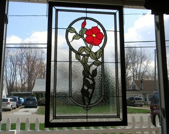 Stained Glass Panel Wild Rose