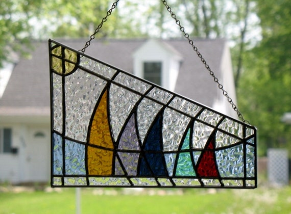 Stained Glass Suncatcher Sailboat Abstract