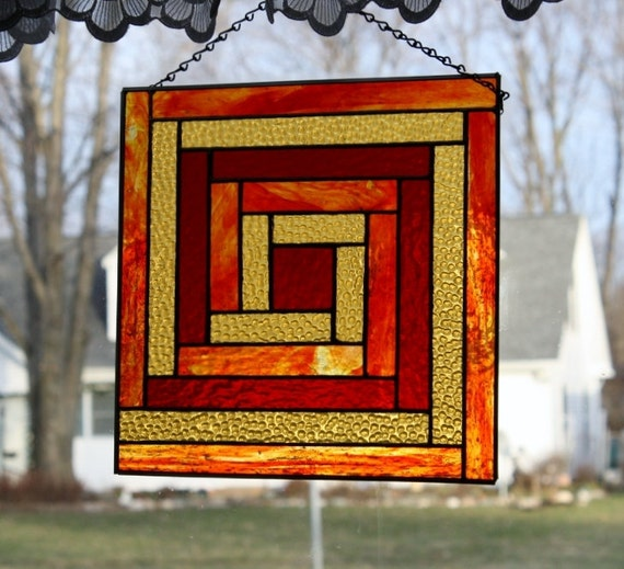 Stained Glass Window Panel Log Cabin Quilt Block