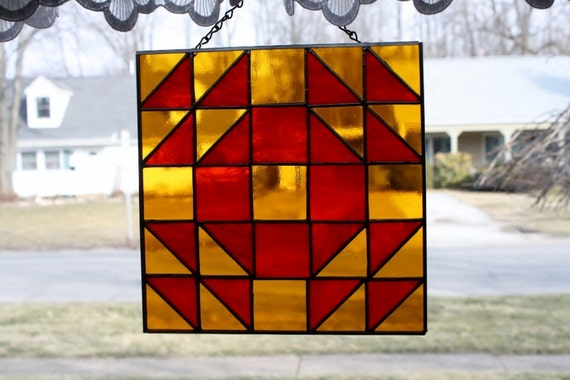 Stained Glass Suncatcher Wedding Ring Quilt Block